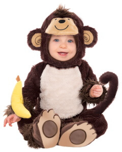 Baby im Affenkostüm für Dschungel Geburtstag