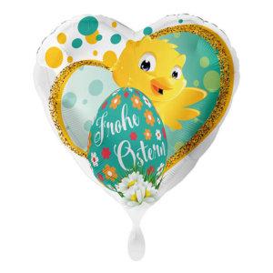 Frohe Ostern Folienballon Herzform