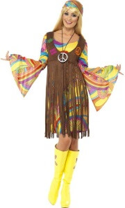 Gelbes Hippie-Party Fransenkleid