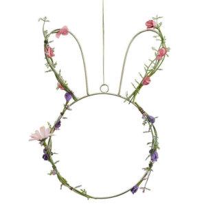 Draht Osterhase zum Aufhängen mit Blumenschmuck