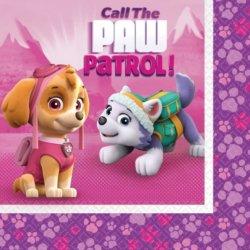 Pinke Servietten Paw Patrol Kindergeburtstag