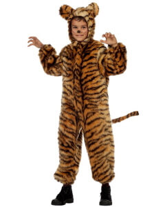 Kind im Tiger Plüschkostüm für Dschungelparty