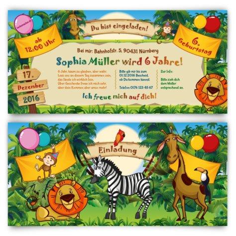 Einladungskarten für Kinder zum Geburtstag - Zoo Besuch