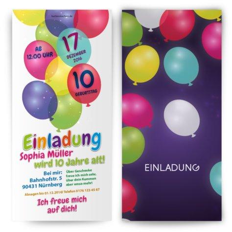 Kindergeburtstagseinladung - Bunte Ballons