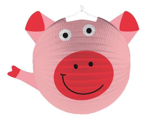 Schwein-Lampion zum Bauernhof-Kindergeburtstag