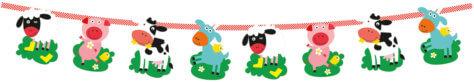 Tierische Girlande für den Bauernhof-Kindergeburtstag