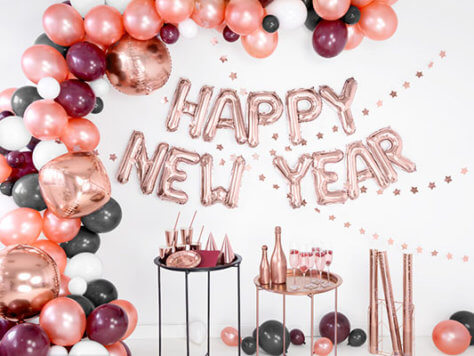 Happy New Year Silvesterdeko Rosegold