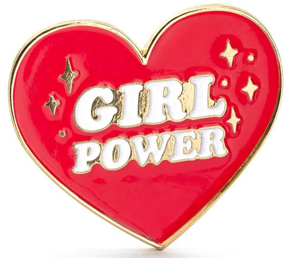 Roter Girl Power Herz Pin