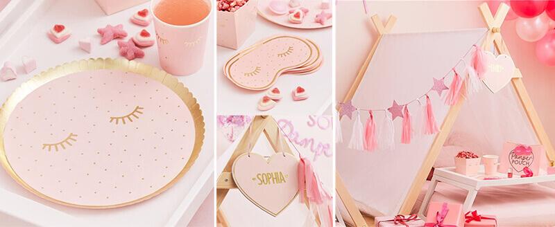 Partydeko für die Pamper Party in rosa gold