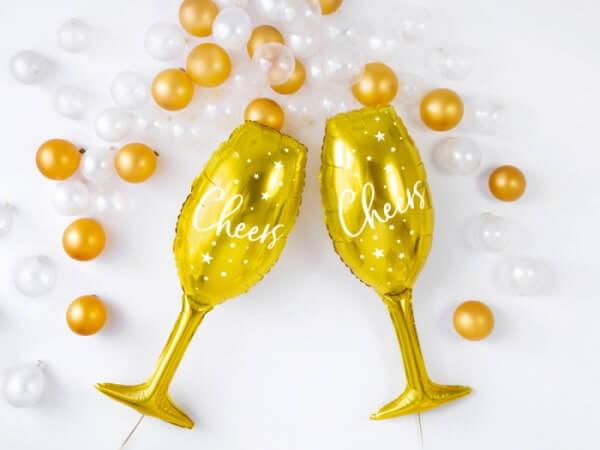 Goldene Sektflaschen Ballons