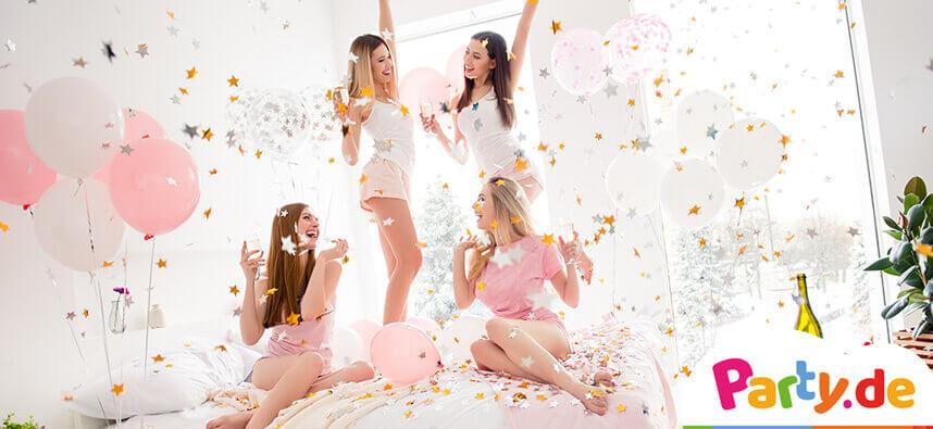 vier Mädchen feiern eine Pamper Party