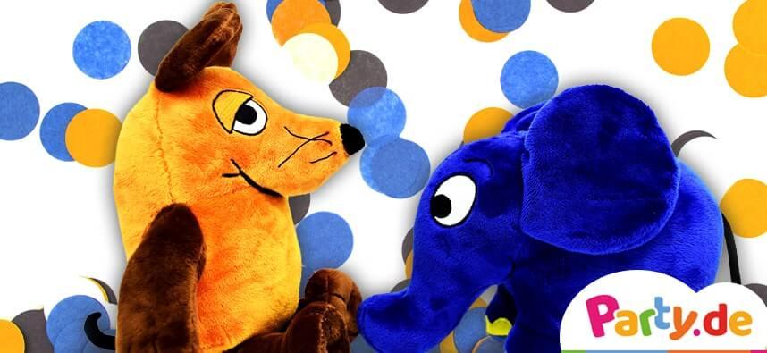 Maus und Elefant vor Konfetti