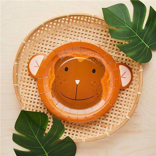 Dschungelparty Pappteller in Affenform