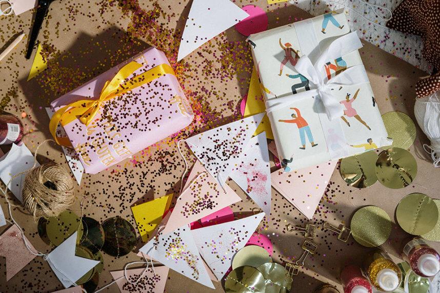 Geschenkverpackung diy mit Konfetti